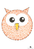 Owl Hoo Text Poster Print