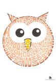 Owl Hoo Text Poster Print