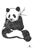 Panda Exotic Animals Text Poster Posters