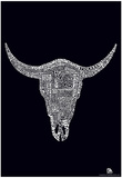 Cow Skull Country Music Songs Text Poster Prints