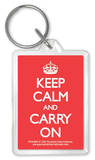 Keep Calm And Carry On - Red Acrylic Keychain Keychain