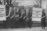 Women Suffragists Picketing in Front of White House Archival Photo