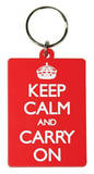 Keep Calm And Carry On Rubber Keychain Keychain