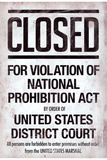 Prohibition Act Closed Sign Notice Posters