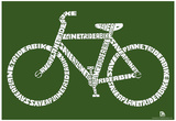 Bicycle Text Poster Prints