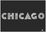 Chicago Neighborhoods Text Poster Affiche