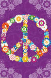 Floral Peace Sign Poster Poster