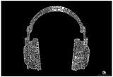 Headphones Music Genres Text Poster - Reprodüksiyon