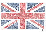 UK Cities Union Jack (White) Text Poster Prints