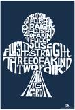 Club Poker Hands Text Poster Plakát