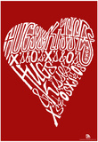 Hugs and Kisses Heart Text Poster Photo