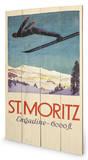 St. Moritz Wood Sign Panneau en bois
