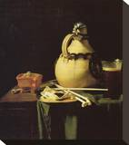 Still life with Pitcher and Beer Glass Stretched Canvas Print by Pieter van Anraadt