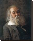 Portrait Of Walt Whitman Stretched Canvas Print by Thomas Cowperthwait Eakins