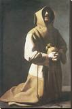 St. Francis Kneeling Stretched Canvas Print by Francisco de Zurbarán