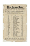 Broadside: Sale of Slaves and Stock 1852. Artist Unidentified Giclee Print