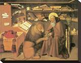 Saint Jerome In His Study Stretched Canvas Print by Niccolo Antonio Colantonio