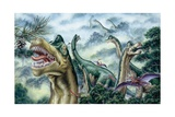 Illustration Representing Group of Ultrasauros in Jurassic Landscape Posters