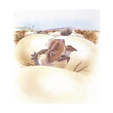 Illustration of Protoceratops Egg Hatching Posters