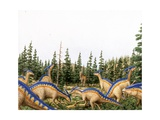 Illustration of Herd of Parasaurolophuses Prints