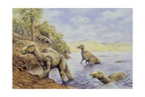 Illustration of Edmontosaurus Getting Out of Lake Poster