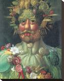 Rudolph II As Vertummus Stretched Canvas Print by Giuseppe Arcimboldo