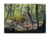 Illustration Representing Dinosaures in Prehistoric Landscape Prints