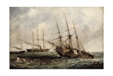 Destruction of Confederate Steamer Alabama by Us Ironclad Kearsarge June 19, 1864 by Hayes Giclee Print