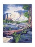 Illustration of Mesozoic Landscape Posters
