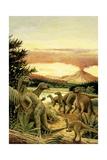 Illustration of Herd of Iguanodons Prints
