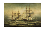 Kearsarge and Alabama Off Cherbourg Harbor, France, June 19Th, 1864 by Christian Poulsen Giclee Print