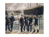 Officers and Troops of the Danish Navy. Watercolor by Gustav Brock, 1886 Giclee Print