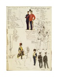 Various Uniforms of Kingdom of Great Britain, Color Plate by Quinto Cenni, 1855 Giclee Print