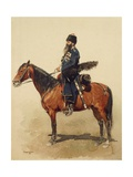 Russian Guard Cossack on Horseback, Ataman Regiment, by Edouard Detaille, Watercolor, 1884 Giclee Print