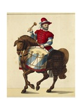 16th Century German Drummer Wearing Colors of Bavaria, Print, 1842 Giclee Print