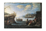 Troops Embarking on Galley in Port of Genoa by Cornelis De Wael Photographic Print