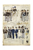 Various Uniforms of Duchy of Modena by Quinto Cenni, Color Plate, 1859-1860 Giclee Print