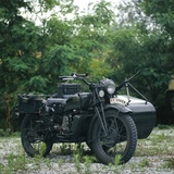 Italian Moto Guzzi Moose Motorcycle with Sidecar, 1941 Photographic Print