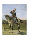 Piedmontese Military Trumpeter, Painting by E. Ghione Giclee Print