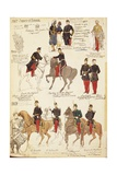 Various Uniforms of the Kingdom of France, by Quinto Cenni, Color Plate, 1857-1858 Giclee Print