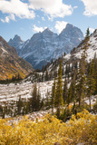 A High Canyon in Fall Foliage and Early Snow, and Snow Covered Peaks Photographic Print by Greg Winston