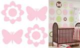 蝶と花のシルエット(ジジピンク)ウォールステッカー・壁用シール ウォールステッカー