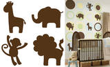 Espresso Brown Jungle Silhouettes Wall Decal Sticker Wall Decal