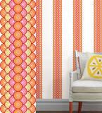 レトロ(オレンジ&ピンク)ストライプウォールステッカー・壁用シール ウォールステッカー