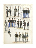 Various Uniforms of Grand Duchy of Tuscany by Quinto Cenni, Color Plate, 1852 Giclee Print
