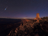 A Meteor Streaks Overhead As the Setting Moon Shines on the Landscape Photographic Print by Babak Tafreshi