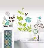 草花と蝶ウォールステッカー・壁用シール ウォールステッカー