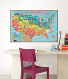 Kids USA Map Wall Decal Sticker Wall Decal