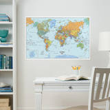 World Dry-Erase Map Wall Decal Sticker Wall Decal