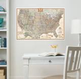 National Geographic USA Map Executive Wall Decal Sticker Wall Decal